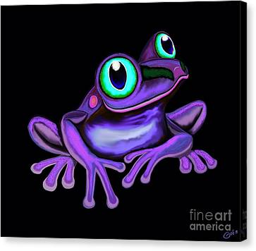 Canvas Print featuring the painting Purple Frog  by Nick Gustafson