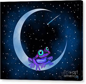 Canvas Print featuring the painting Purple Frog On A Crescent Moon by Nick Gustafson