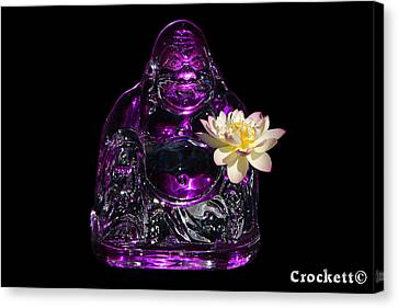 Canvas Print featuring the photograph Purple Glass Buddah With Yellow Lotus Flower by Gary Crockett