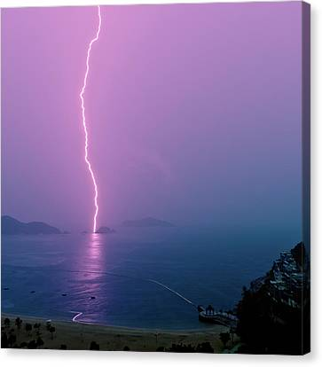 Purple Glow Of Lightning Canvas Print by Judi Mowlem