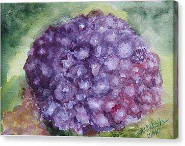 Canvas Print featuring the painting Purple Hydrangea by Donna Walsh