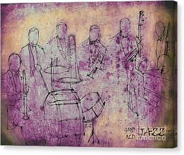 Musica Canvas Print - Purple Jazz Band by Pablo Franchi