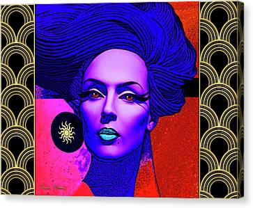 Canvas Print featuring the digital art Purple Lady - Deco by Chuck Staley