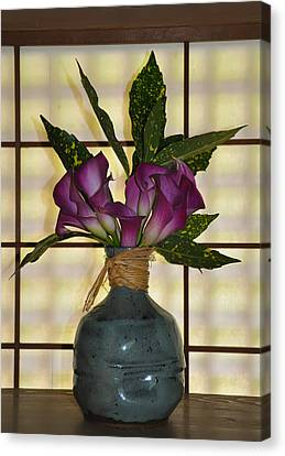 Purple Lilies In Japanese Vase Canvas Print by Bill Cannon