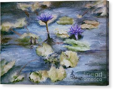 Canvas Print featuring the painting Purple Lily by Brenda Thour