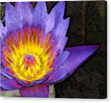 Purple Lotus Flower - Zen Art Painting Canvas Print by Sharon Cummings