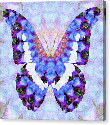 Canvas Print featuring the painting Purple Mandala Butterfly Art By Sharon Cummings by Sharon Cummings