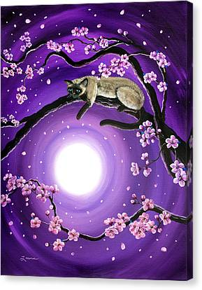 Purple Moonlight Sakura Canvas Print by Laura Iverson