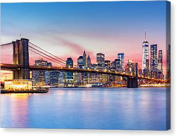 Canvas Print featuring the photograph Purple Nyc Sunset by Mihai Andritoiu