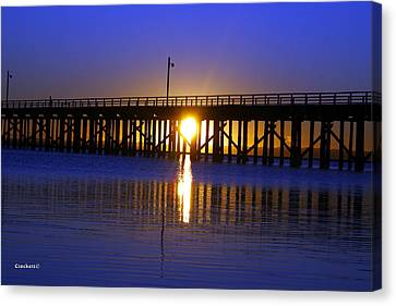 Canvas Print featuring the photograph Purple Ocean Sunrise by Gary Crockett