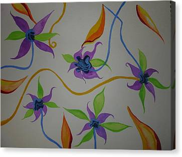 Canvas Print featuring the painting Purple-orange Flowers by Erika Swartzkopf