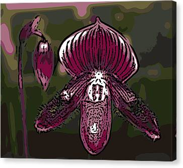 Purple Orchid Woodcut Canvas Print by Ann Tracy