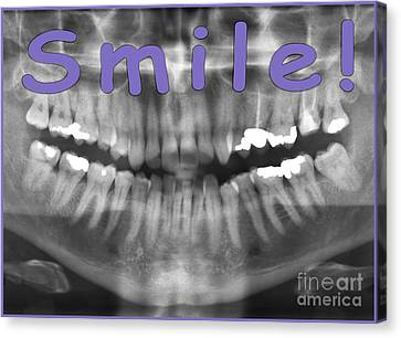 Purple Panoramic Dental X-ray With A Smile  Canvas Print by Ilan Rosen
