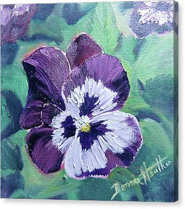 Canvas Print featuring the painting Purple Pansy by Bonnie Heather