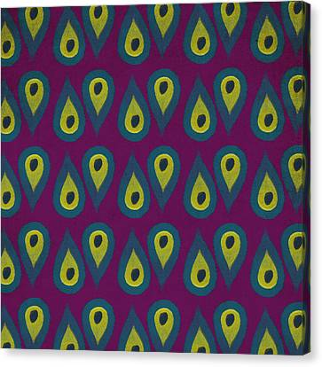 Drop Canvas Print - Purple Peackock Print  by Linda Woods