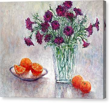 Purple Petunias And Oranges Canvas Print