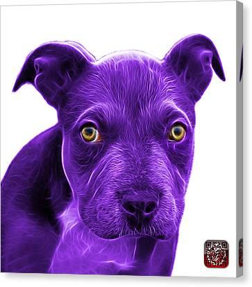 Purple Pitbull Puppy Pop Art - 7085 Wb Canvas Print by James Ahn
