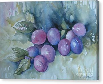 Canvas Print featuring the painting Purple Plums by Elena Oleniuc