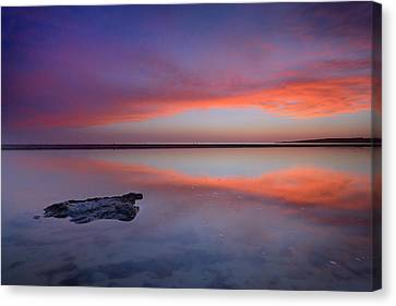 Purple Reflections At The Sea Canvas Print