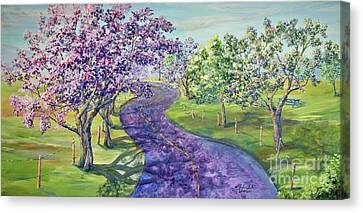 Purple Road - Springtime Canvas Print by Malanda Warner