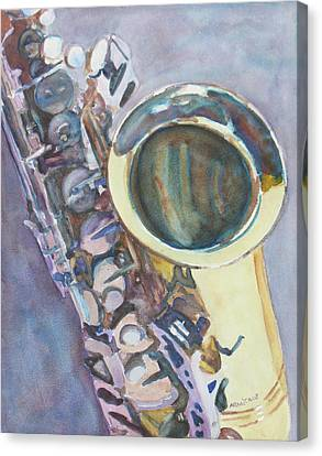Purple Sax Canvas Print by Jenny Armitage