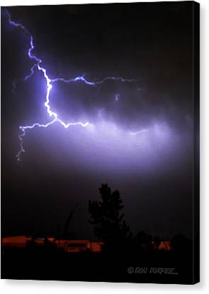 Canvas Print featuring the photograph Purple Sky Lightening by Don Durfee
