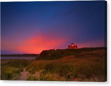 Purple Sky Over Coast Guard Eastham Canvas Print by Dapixara Art
