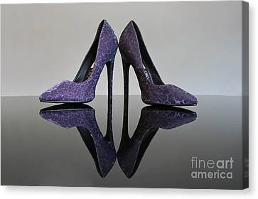 Purple Stiletto Shoes Canvas Print by Terri Waters