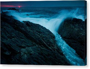Waves At Sunrise Canvas Print by William Sanger