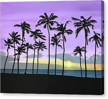 Purple Sunset Beach Canvas Print