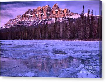 Canvas Print - Purple Sunset Reflections Along The Bow River by Adam Jewell