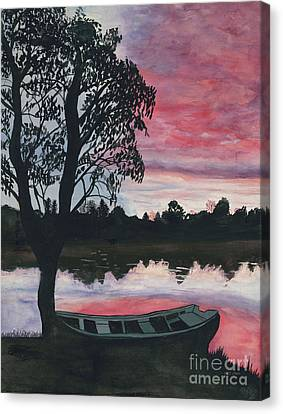Purple Sunset With Boat Canvas Print by Patty Vicknair