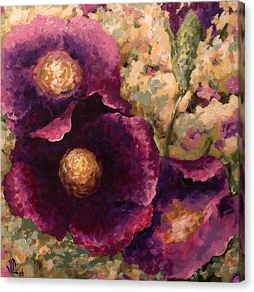Purple Trio-flowers Canvas Print