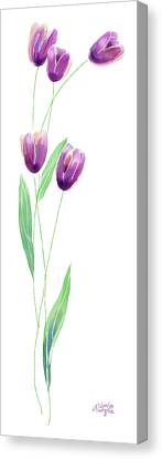 Purple Tulips Canvas Print by Arline Wagner