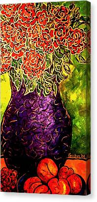 Canvas Print featuring the painting Purple Vase by Laura  Grisham