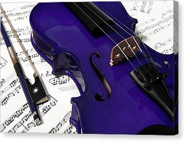 Purple Violin And Music V Canvas Print
