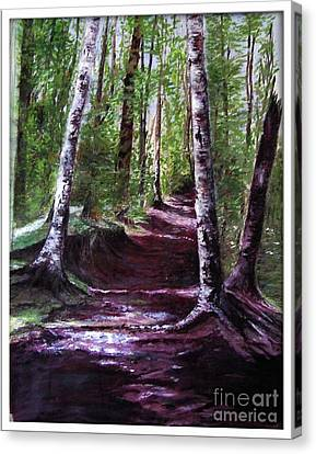 Canvas Print featuring the painting Purple Walk by Sibby S