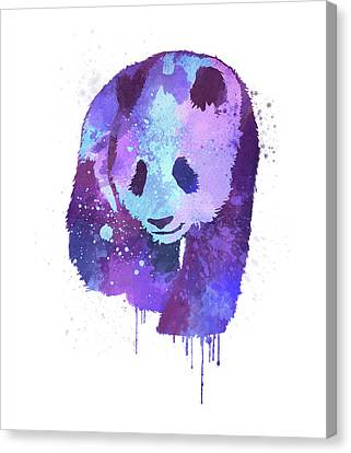 Purple Watercolor Panda Canvas Print