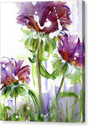 Canvas Print featuring the painting Purple Wildflowers by Dawn Derman