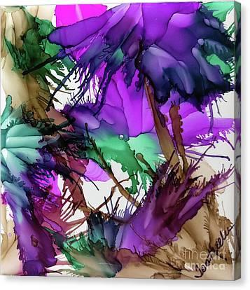 Purple Peacock  Canvas Print by Jo Ann Bossems