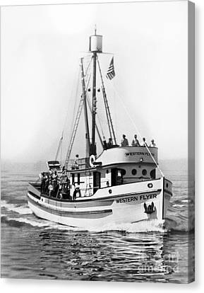 Purse Seiner Western Flyer On Her Sea Trials Washington 1937 Canvas Print by California Views Mr Pat Hathaway Archives