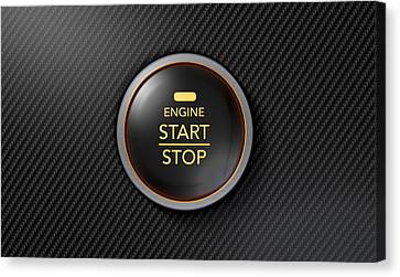 Push To Start Carbon Fibre Button Canvas Print by Allan Swart