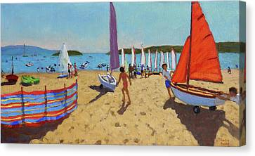 Pushing Out The Boat, Abersoch Canvas Print by Andrew Macara