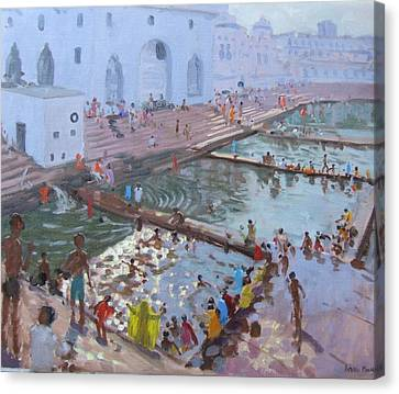 South Asia Canvas Print - Pushkar Ghats Rajasthan by Andrew Macara
