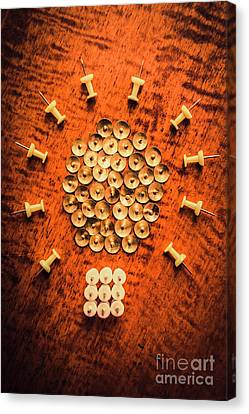 Pushpins Arranged In Light Bulb Icon Canvas Print