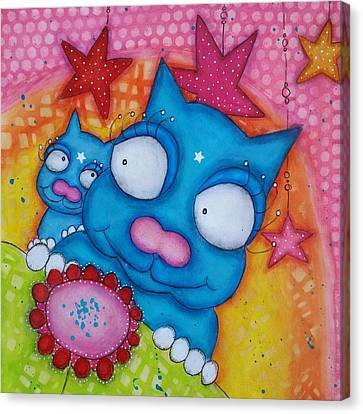 Canvas Print - Puss And Cat by Barbara Orenya