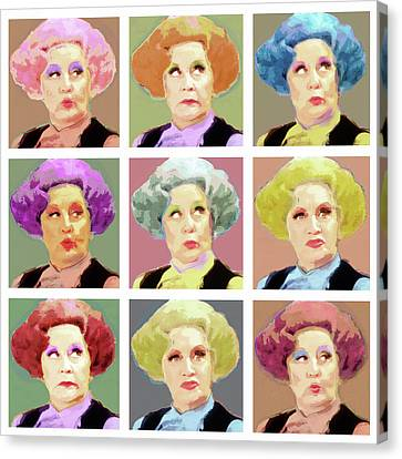 Pussy Galore - Nine Lives - Mollie Sugden Portrait, Are You Being Served? Canvas Print by Big Fat Arts