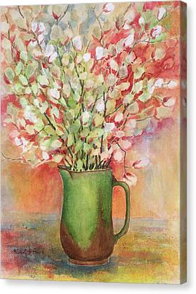 Pussy Willow And Pitcher Canvas Print by Barbel Amos
