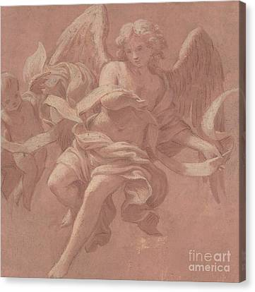 Putto And Angel Holding A Banderole, 1706  Canvas Print by Antonio Franchi