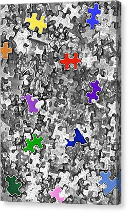 Puzzle Pieces - Jigsaw Abstract 2 Canvas Print by Steve Ohlsen